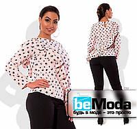 Блуза с диагональной рюшей персиковая