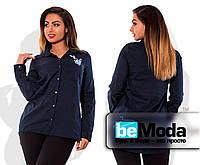 Рубашка с вышивкой на груди синяя