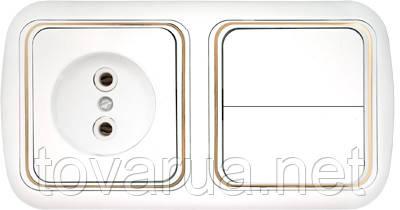 Выключатель двухклавишный + розетка скрытой установки