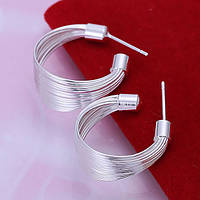 Сережки жгутики 925 серебро проба