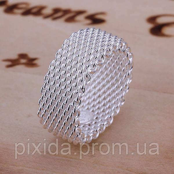 Кольцо сеточка плетение 925 серебро проба