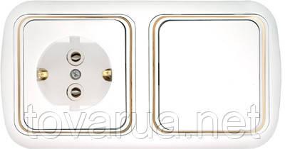 Выключатель одноклавишный + розетка с заземляющим контактом скрытой установки