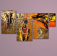"Картина модульная ""Африка 6""  (740х1300 мм) [5 модулей]"