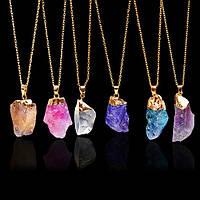 Подвеска натуральный камень Разные цвета    позолота обойма