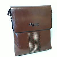 Сумка планшет через плечо 24х20х6 см мужская коричневая эко кожа