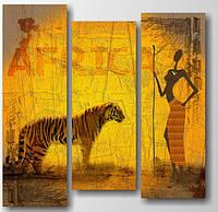 """Модульная картина """"Африканская женщина и тигр""""  (1200х1200 мм) [3 модуля]"""