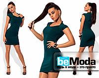 Коктейльное бандажное платье изумрудного цвета