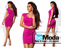Коктейльное бандажное розовое платье