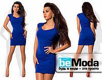 Коктейльное бандажное платье синее