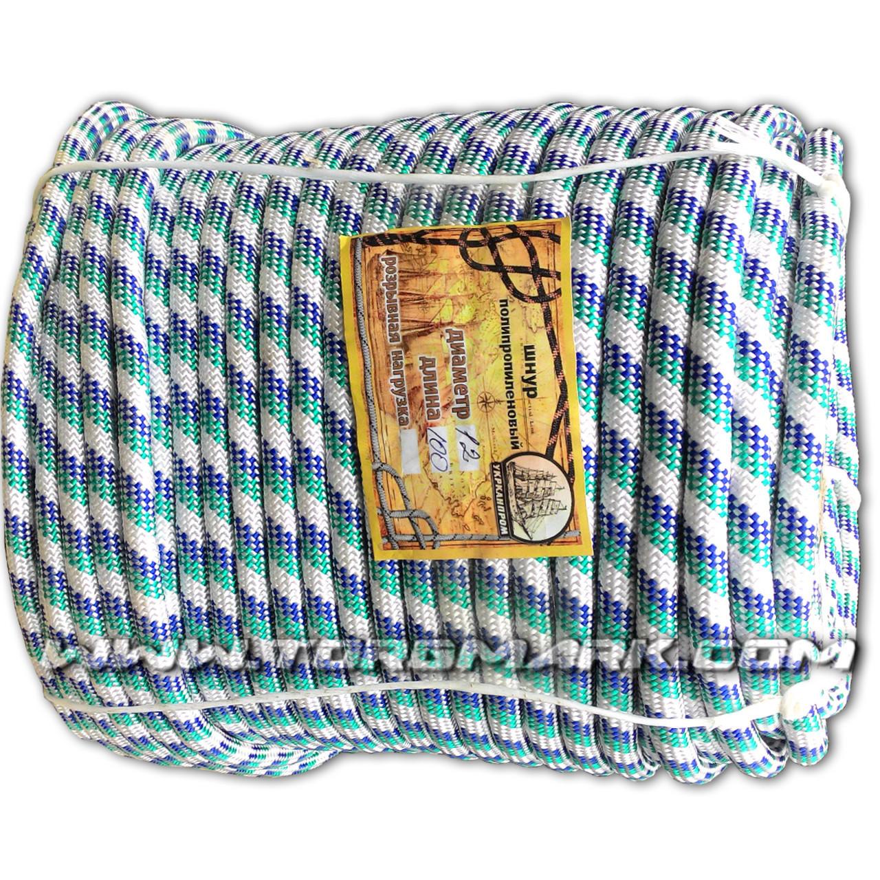 Морской плетеный шнур 12 мм 100 м нагрузка 600кг