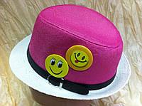 Детская двухцветная шляпа с значками из рисовой соломки