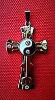 Кулон  мужской крест с Инь-янь Steel Rage 316L