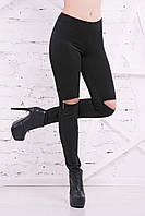 Женские черные лосины со змейками на коленях