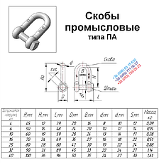 Скоба такелажная прямая 14 мм - шекля оцинкованная, фото 3