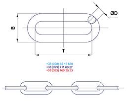 Цепь черная  длинное звено 6 мм х L 10 метров, фото 3