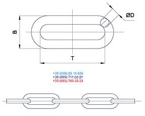 Цепь черная  длинное звено 7 мм х L 5 метров, фото 3