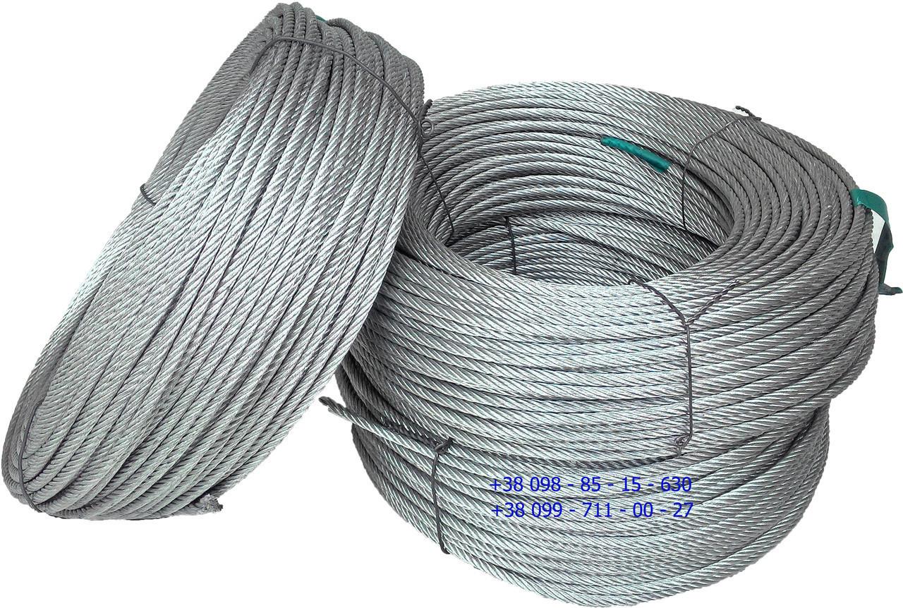 Трос стальной оцинкованный 3 мм - 50 м 6 х 7 канат стальной (Корея)