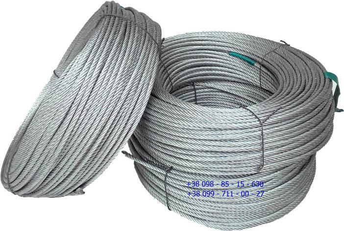 Трос стальной оцинкованный 3 мм - 50 м 6 х 7 канат стальной (Корея), фото 2