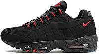 Мужские кроссовки Nike Air Max 95 Black/Red (Найк Аир Макс 95) черные