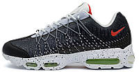 Мужские кроссовки Nike Air Max 95 Grey Black White (Найк Аир Макс 95) белые/черные