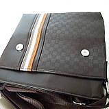 Стильная мужская сумка планшет 26х27х8 см барсетка эко кожа черная, фото 3