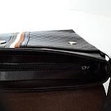 Стильная мужская сумка планшет 26х27х8 см барсетка эко кожа черная, фото 5