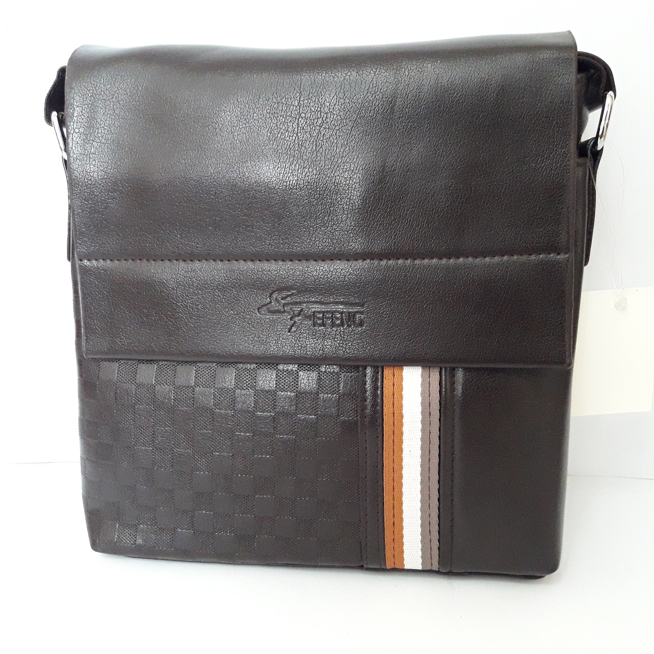 Стильная мужская сумка планшет 26х27х8 см барсетка эко кожа черная