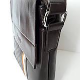 Стильная мужская сумка планшет 26х27х8 см барсетка эко кожа черная, фото 7