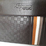 Стильная мужская сумка планшет 26х27х8 см барсетка эко кожа черная, фото 8