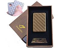 Спиральная USB зажигалка №4702-4, золотого цвета, спираль накаливания, подарочная упаковка, идея для подарка