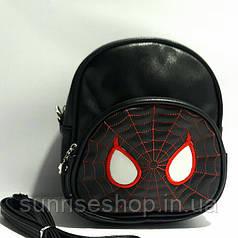 """Сумка-рюкзак для хлопчиків """"Павук"""" шкірозамінник чорний"""