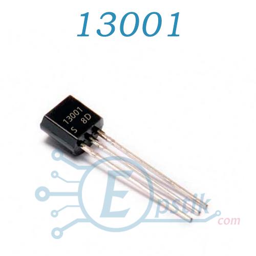 MJE13001, транзистор биполярный, NPN, 600В, 0.2А, TO92