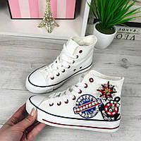 Женские высокие кеды белые в обувном текстиле