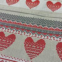 Бязь с красными сердечками, имитация вязаной ткани, фото 1