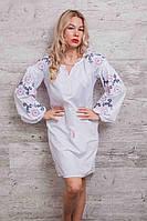 Платье-вышиванка Очарование с рукавами-фонариками белое