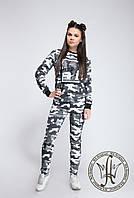 Женский спортивный костюм в стиле милитари / двунитка / Украина