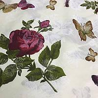 Бязь с бабочками и красными розами на молочном фоне, фото 1