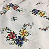 Бязь с красным, желтым и синим цветочком, имитация вышивки