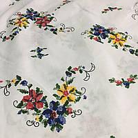 Бязь с красным, желтым и синим цветочком, имитация вышивки, фото 1