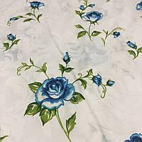 Бязь с нежной голубой розочкой на белом фоне, фото 1