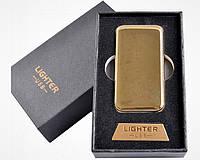 Спиральная USB зажигалка №4754 Gold, золотого цвета, спираль накаливания, подарочная упаковка