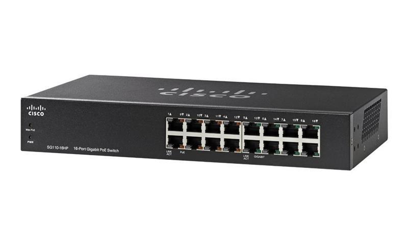 Коммутатор Cisco SB SG110-16HP 16-Port PoE Gigabit Switch (SG110-16HP-EU)