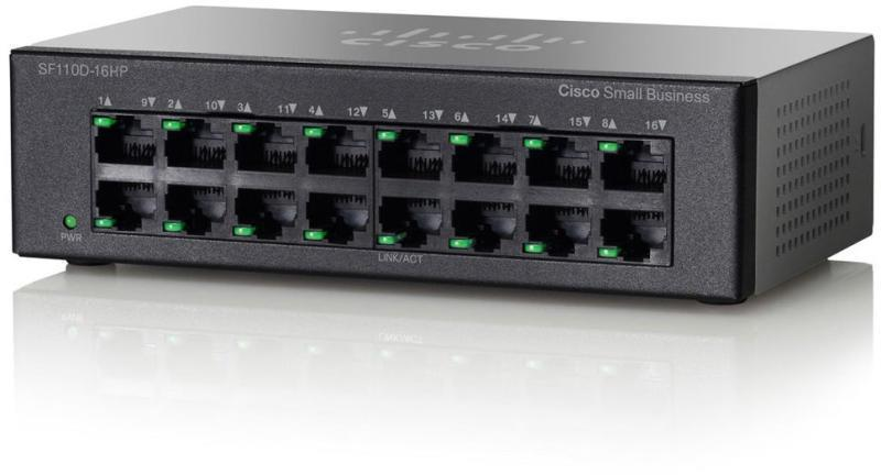 Коммутатор Cisco SB SF110D-16HP 16-Port 10/100 PoE Desktop Switch (SF110D-16HP-EU)