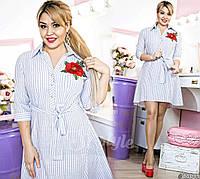 Красивое платье-рубашка в полосатый принт