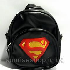 """Сумка-рюкзак для хлопчиків """"Супермен"""" шкірозамінник чорний"""