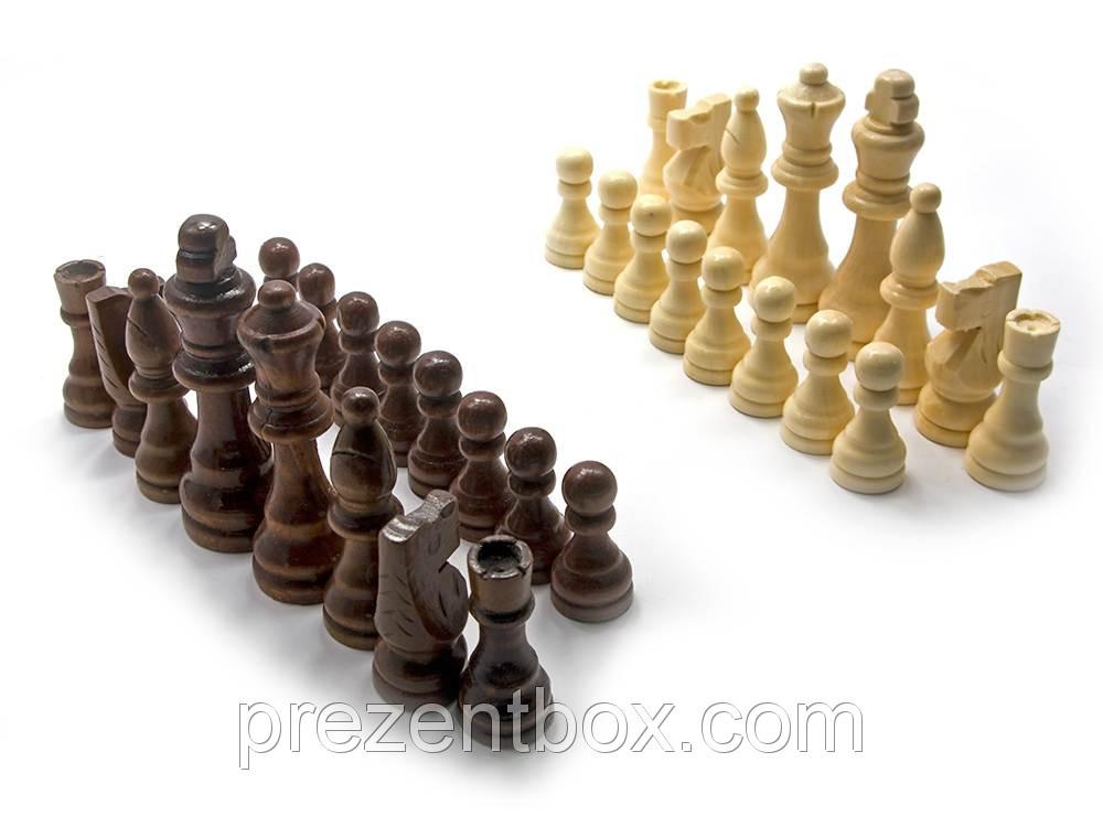 """Шахматные фигуры деревянные в блистере (26х26х5,5 см) (3,5"""")"""