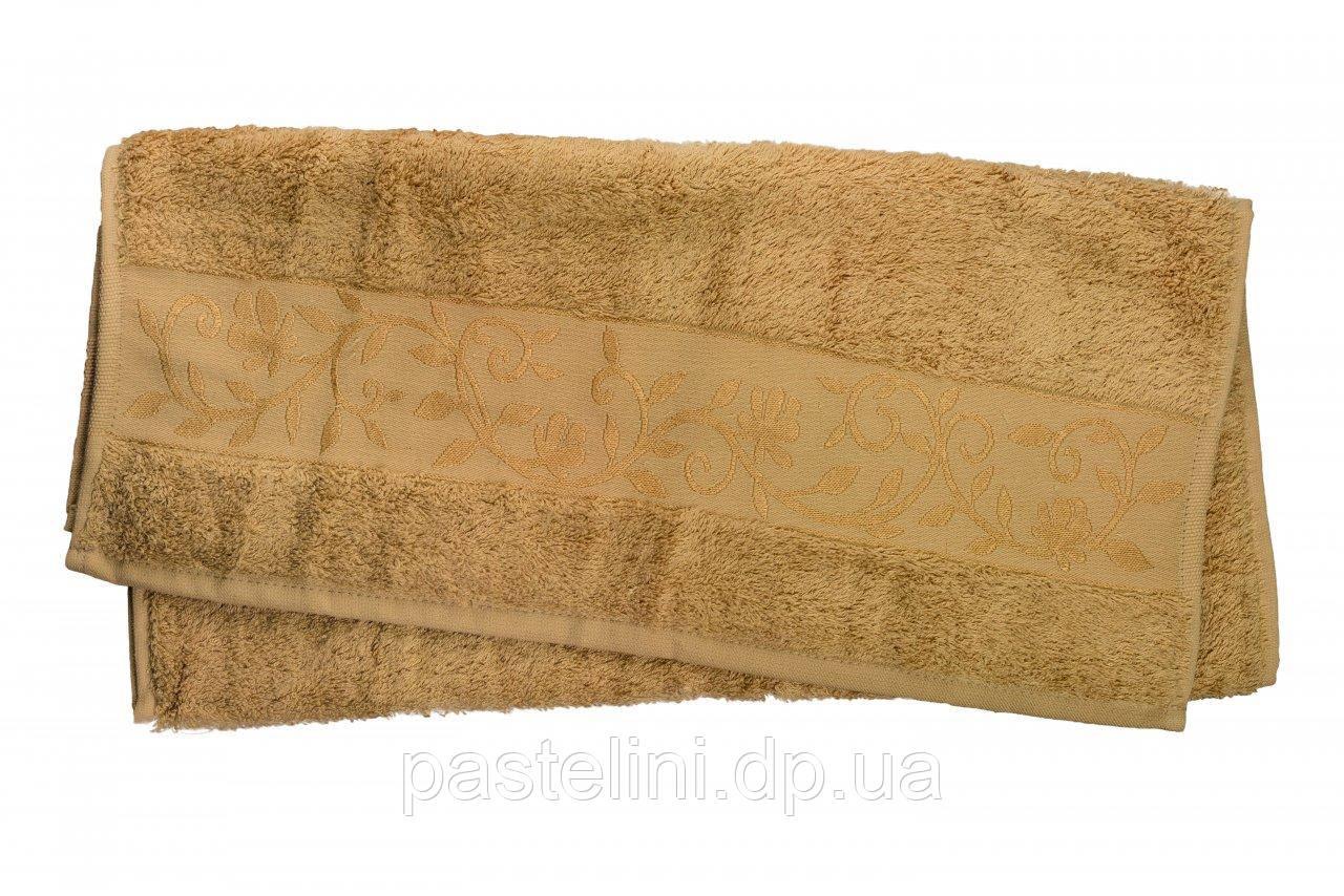 Полотенце махра-бамбук   100x150 bamboo тёмно-бежевое