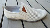 Мужские кожаные летние туфли KF beige на резинках, фото 1