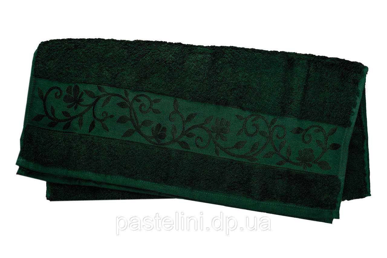 Полотенце махра-бамбук   50x90 bamboo тёмно-зелёное