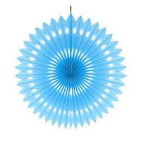Веер  голубой  40см